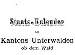 Staatskalender des Kantons Obwalden ab 1808